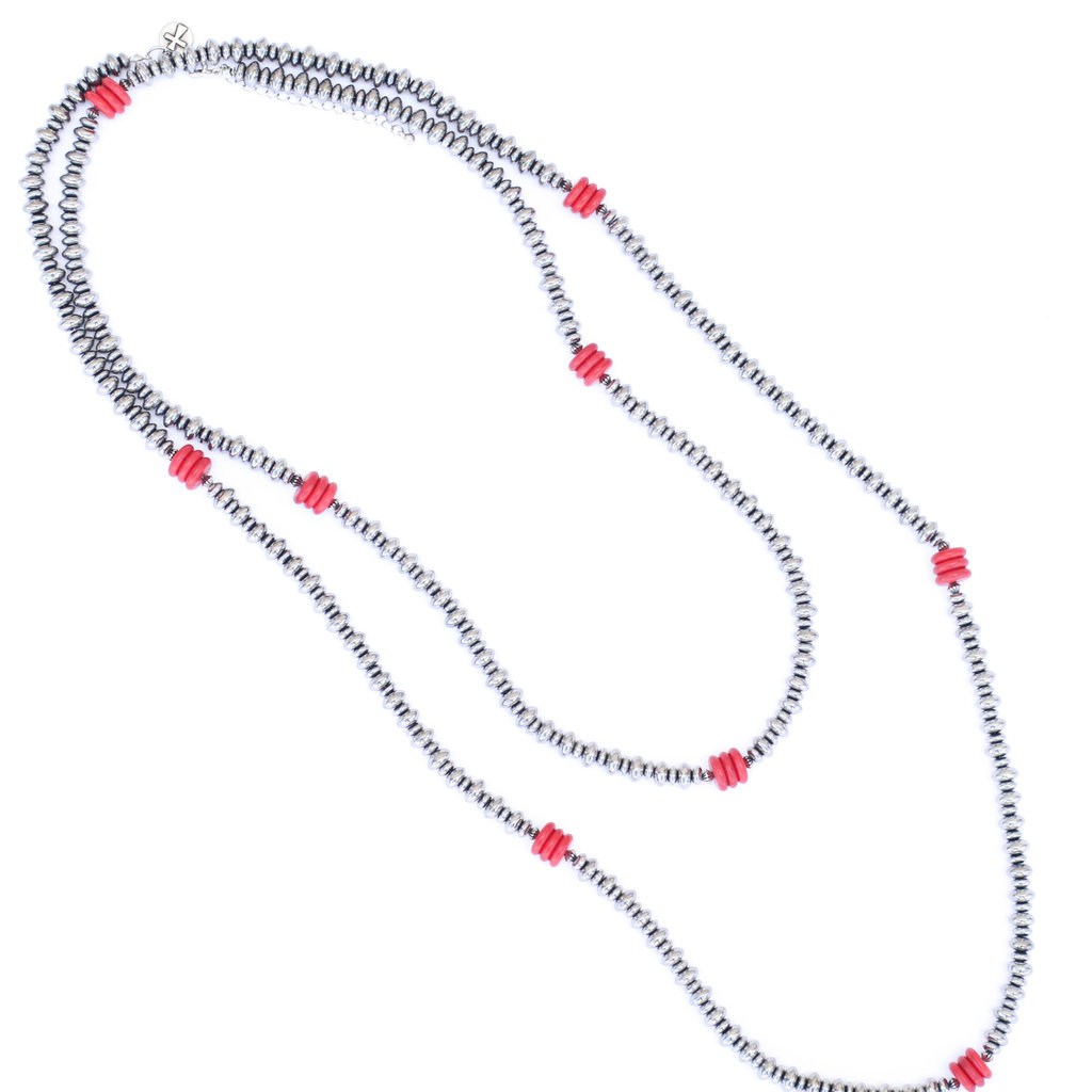 "Punchy's 66"" Silver Disc and Red Rondel Beaded Necklace"