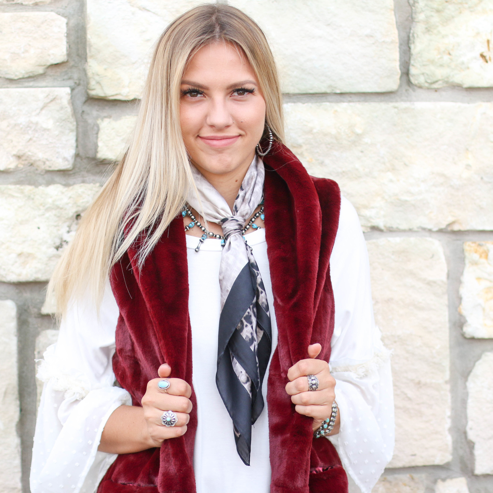 Punchy's Burgundy Faux Fur Sleeveless Coat