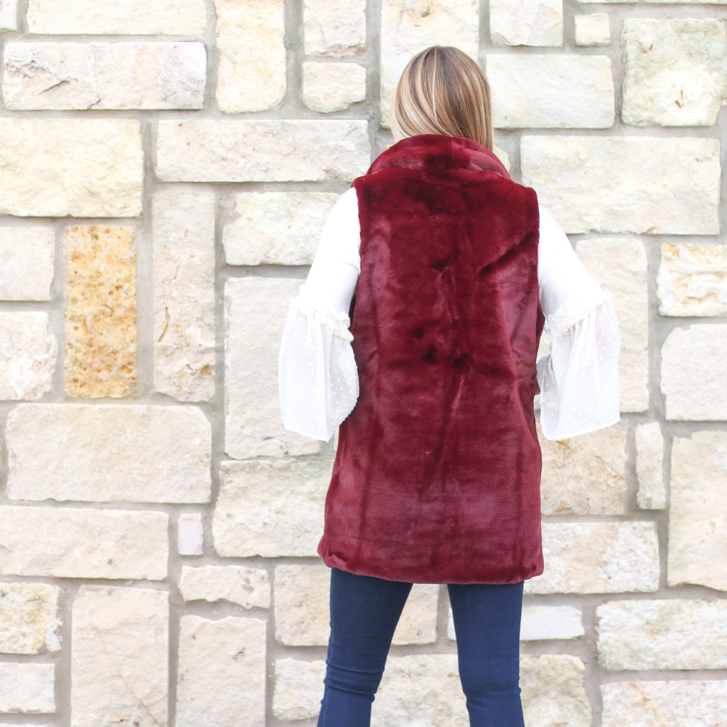 Punchy's Burgundy Faux Fur Sleeveless Coat