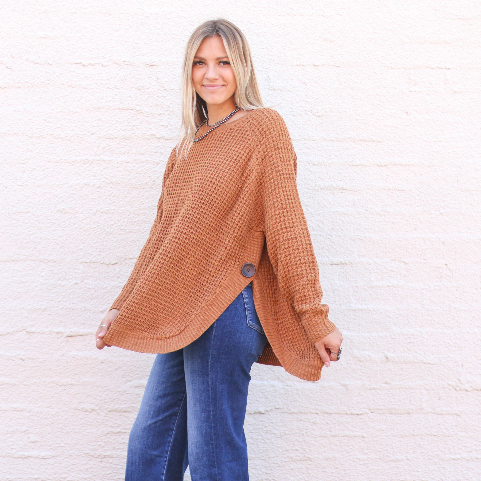 Punchy's Caramel Rounded Bottom Sweater