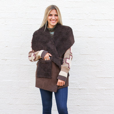 Punchy's Knit Cardigan with Fur Lining