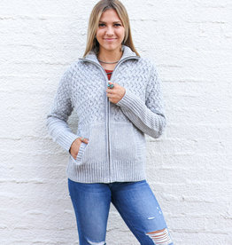 Punchy's Knitted Grey Zip Cardigan