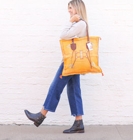 Punchy's Mustard Wool and Leather Zippered Tote