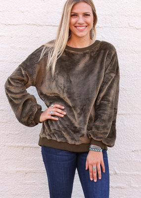 Punchy's Olive Plush Sweatshirt