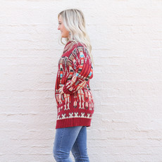 Punchy's Red Knit Cardigan with Pockets