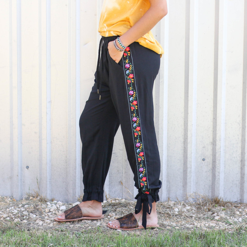 Punchy's Black Embroidered Joggers