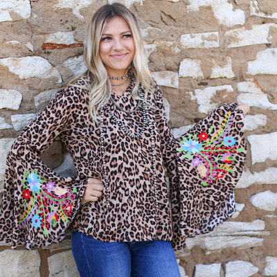 Punchy's Leopard Embroidered Bell Sleeve Top