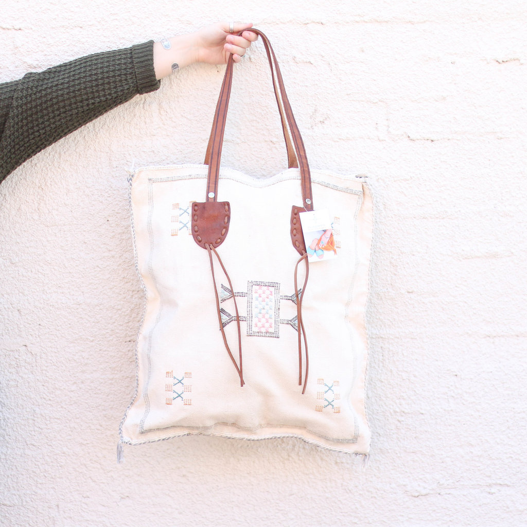 Punchy's Cream Wool and Leather Zippered Tote