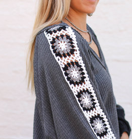 Punchy's Gray V Neck with Crochet Sleeves