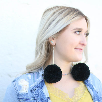 Punchy's Black Extra Pom Earring