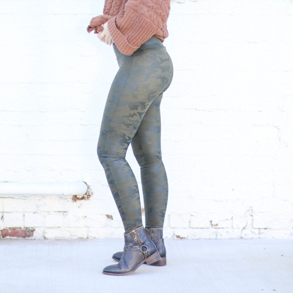 Punchy's Camo Faux Leather Spanx Leggings