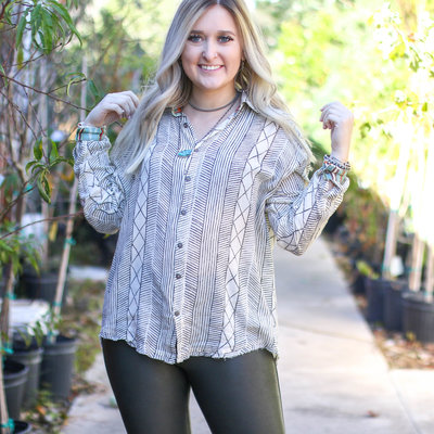 Punchy's Criss Cross Serape Button Up