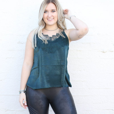 Punchy's Emerald Silky V Neck Cami