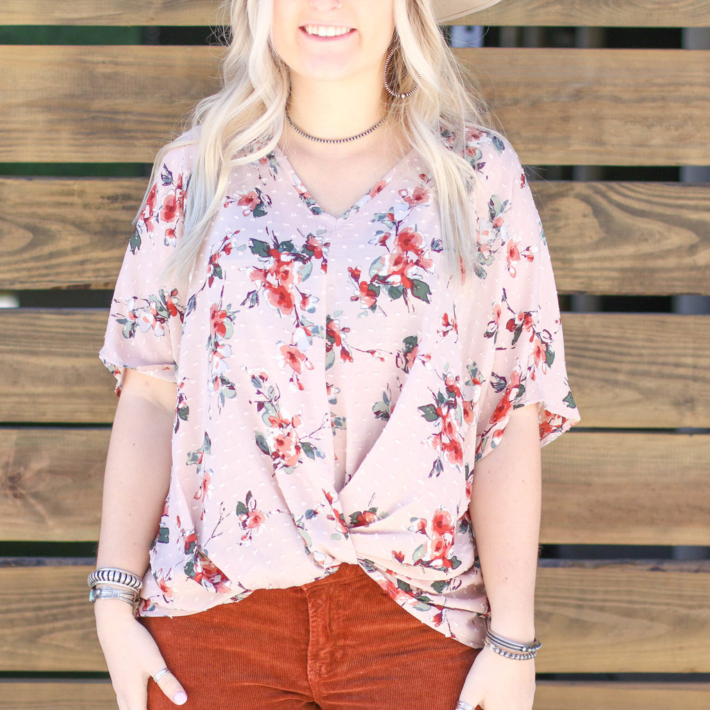 Punchy's Floral Blush V Neck Woven Top