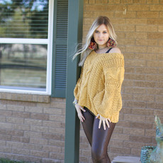 Punchy's Honey Please Slouchy Cable Knit Sweater
