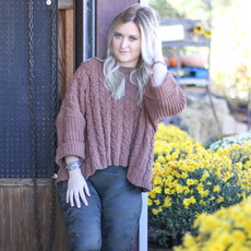 Punchy's Oversized Russet Cable Knit Sweater LARGE