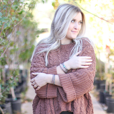 Punchy's Oversized Russet Cable Knit Sweater
