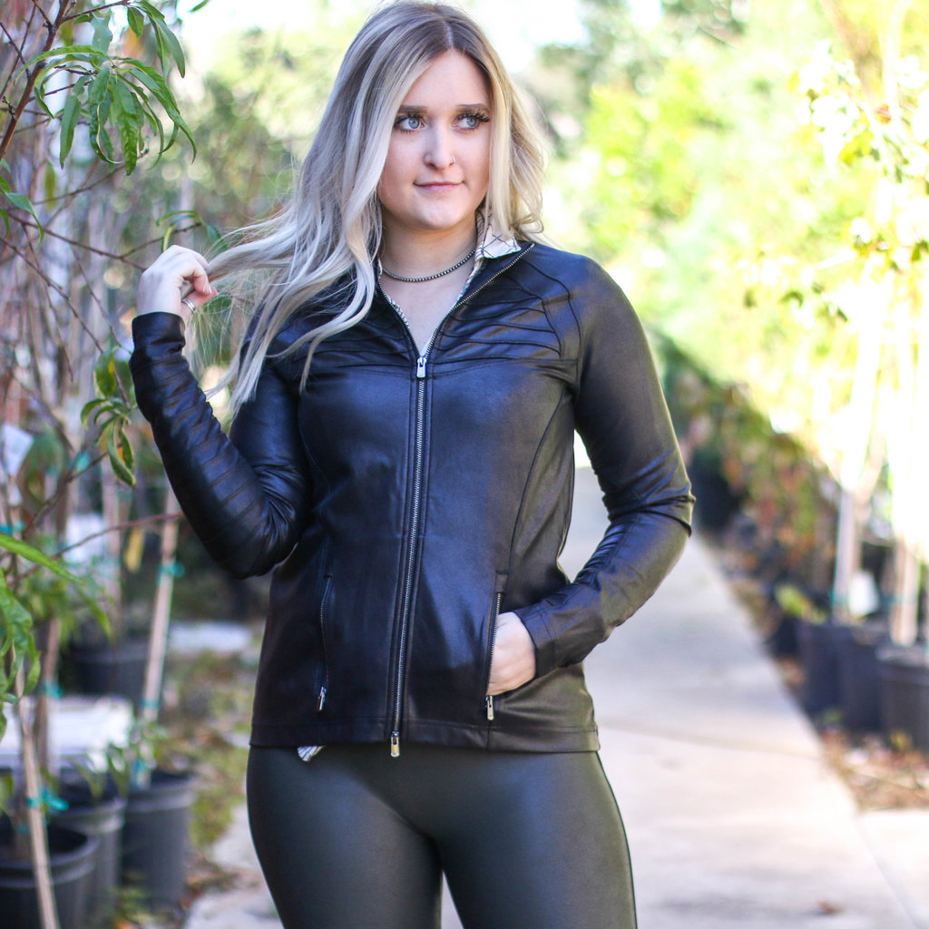 Punchy's Black Faux Leather Spanx Moto Jacket