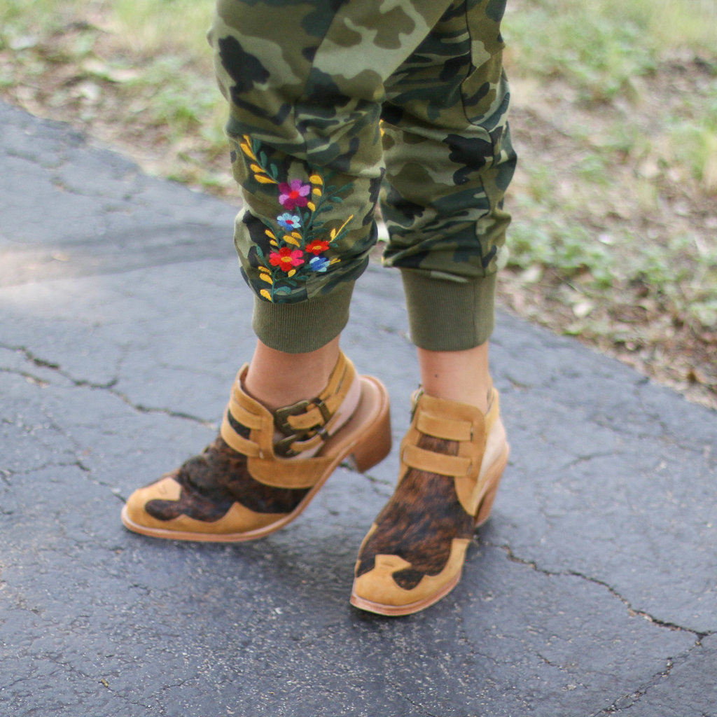 Punchy's Mustard and Cowhide Strappy Buckle Booties