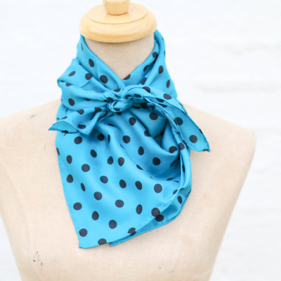 Punchy's Aqua with Black Polka Dots Wildrag