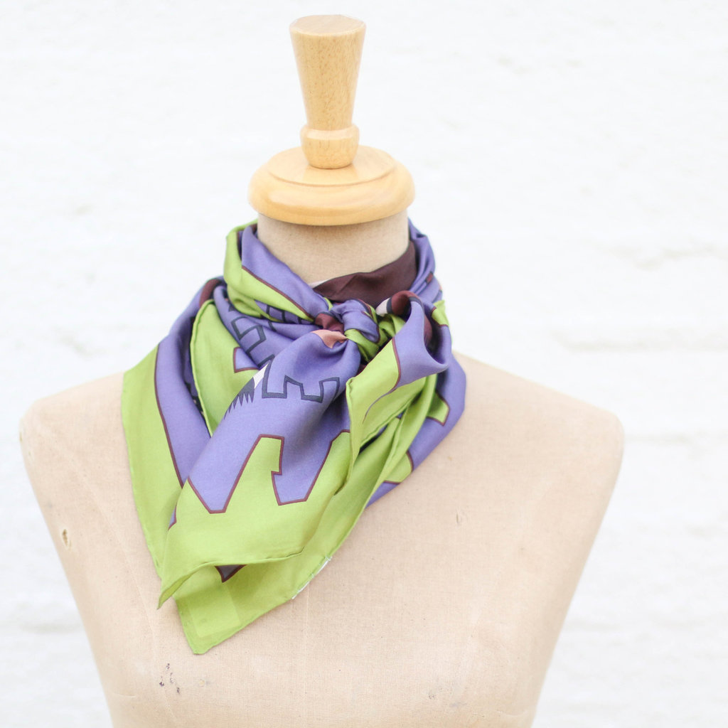 Punchy's Purple Lime Southwest Silk Wildrag