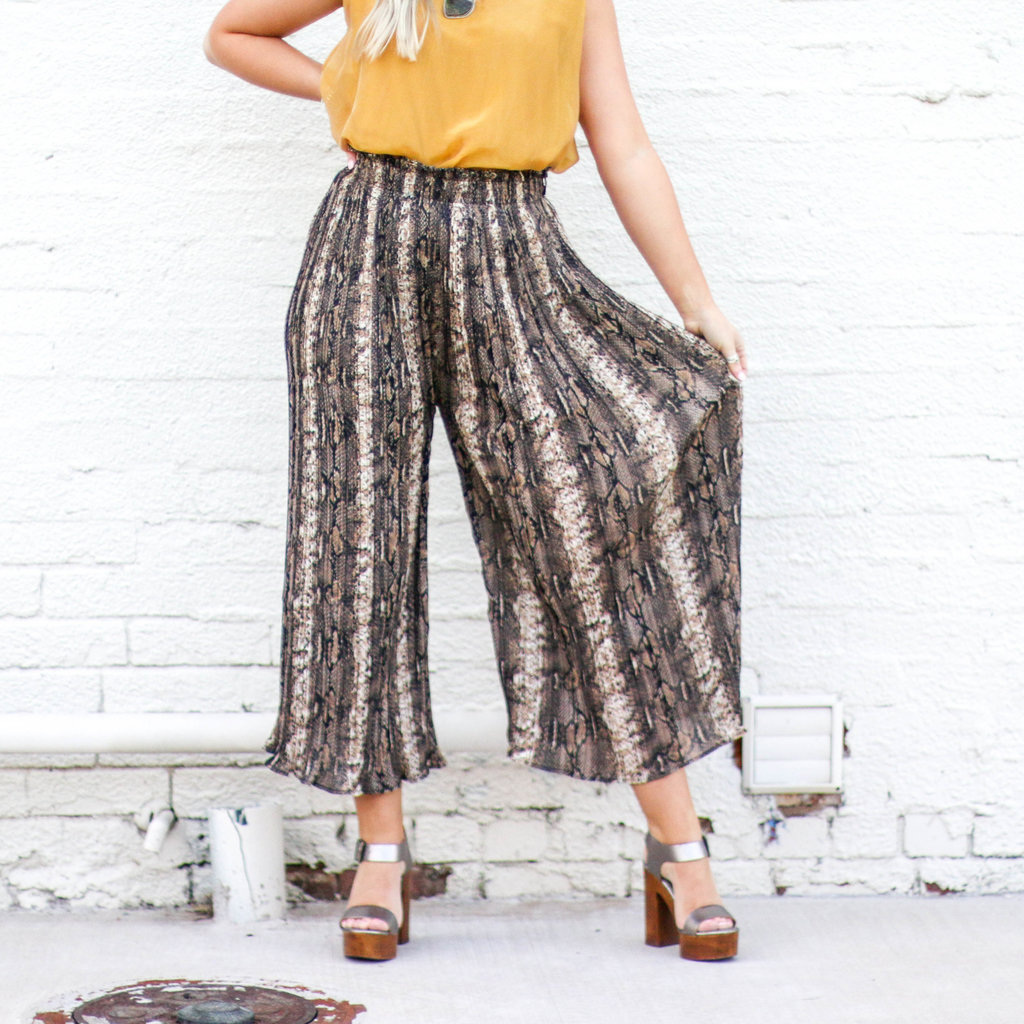 Punchy's Natural Snake Skin Pleated Pant