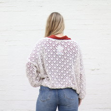 Punchy's Almond Crochet Chenille Pullover