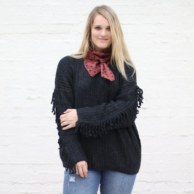 Punchy's Black Fringe Sleeve Sweater