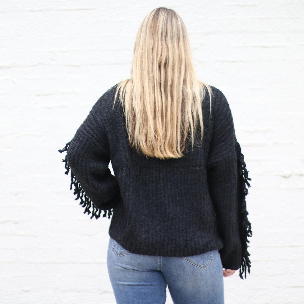 Punchy's Black Fringe Sleeve Sweater