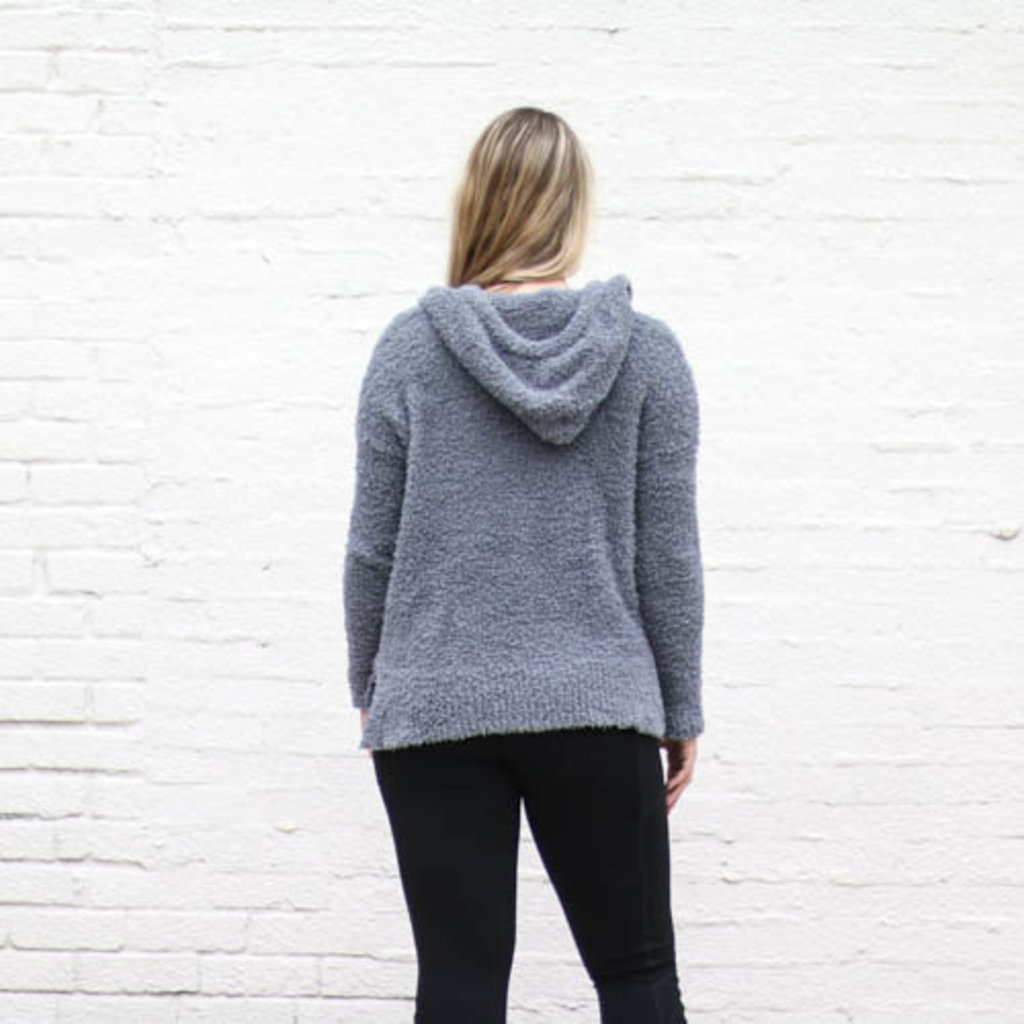 Punchy's Grey Fleece Hooded Pullover