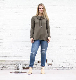Punchy's Olive Drawstring Cowl Neck Long Sleeve