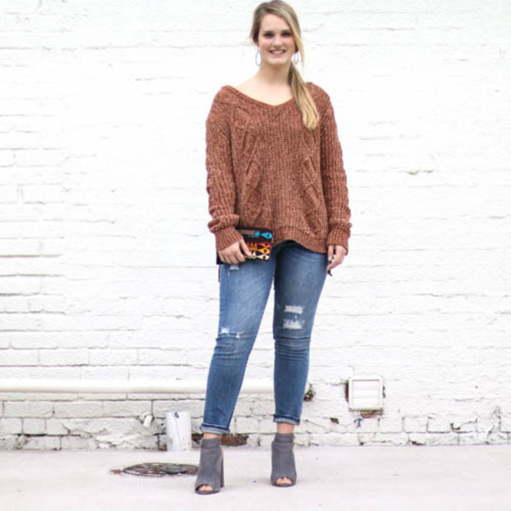 Punchy's Rust Cable Knit Sweater with Ribbed Collar