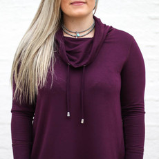 Punchy's Wine Drawstring Cowl Neck Long Sleeve