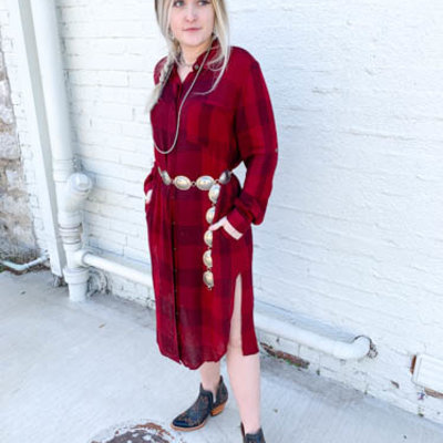 Punchy's Maroon and Black Flannel Button Up Dress