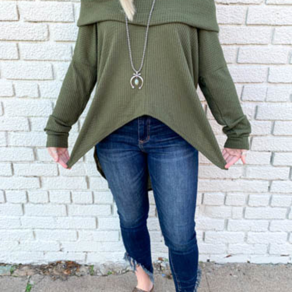 Punchy's Olive Cowl Neck Sweater