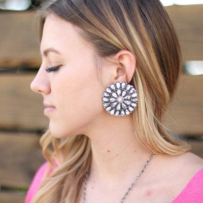 Punchy's 2in White Buffalo Cluster Earrings