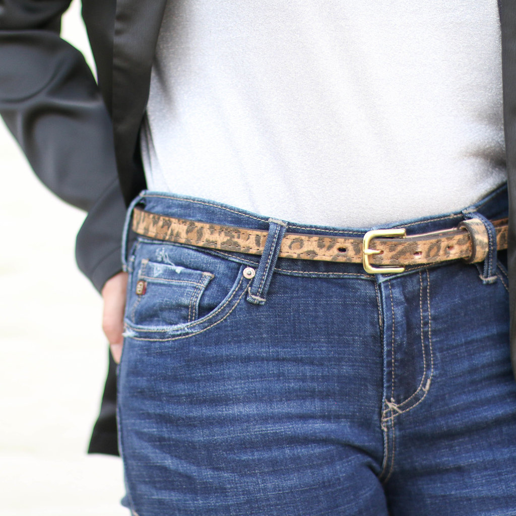 Punchy's Cheetah Suede Print Leather Belt