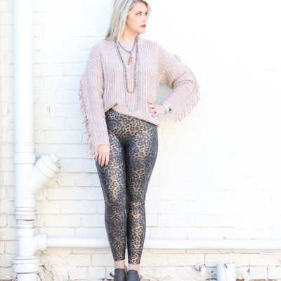 Punchy's Faux Leather Leopard Spanx Leggings