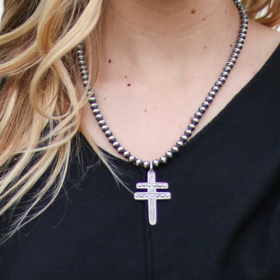 Punchy's 5mm Navajo Pearl Cross Pendant Necklace