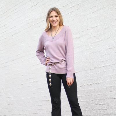 Punchy's Lavender Off the Shoulder Sweater