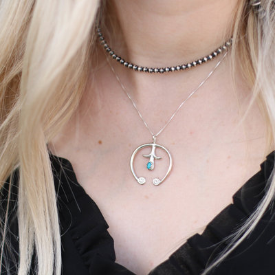 Punchy's Naja Pendant with Turquoise Silver Chain Necklace