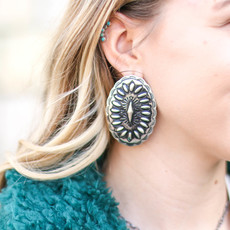 Punchy's Statement Oval Concho Stud Earring