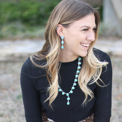 Punchy's Turquoise Linear Drop Necklace Earring Set