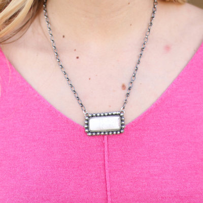 Punchy's White Buffalo Dotted Bar Necklace