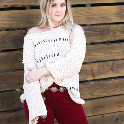 Punchy's Zig Zag Cream and Black Popcorn Sweater