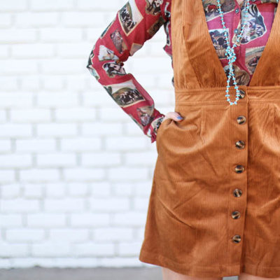 Punchy's Camel Corduroy Overall Dress