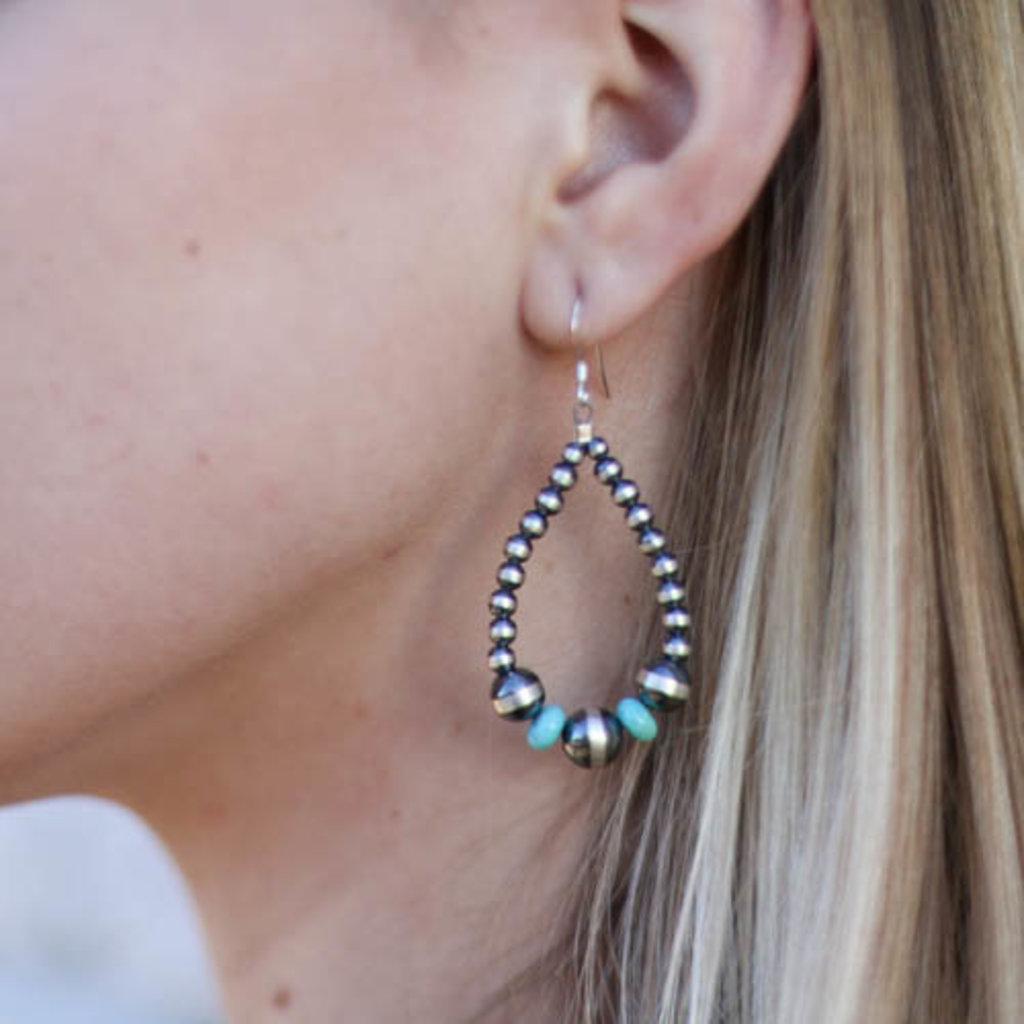 Punchy's 2.0 2in Turquoise Navajo Pearl Teardrop Earring