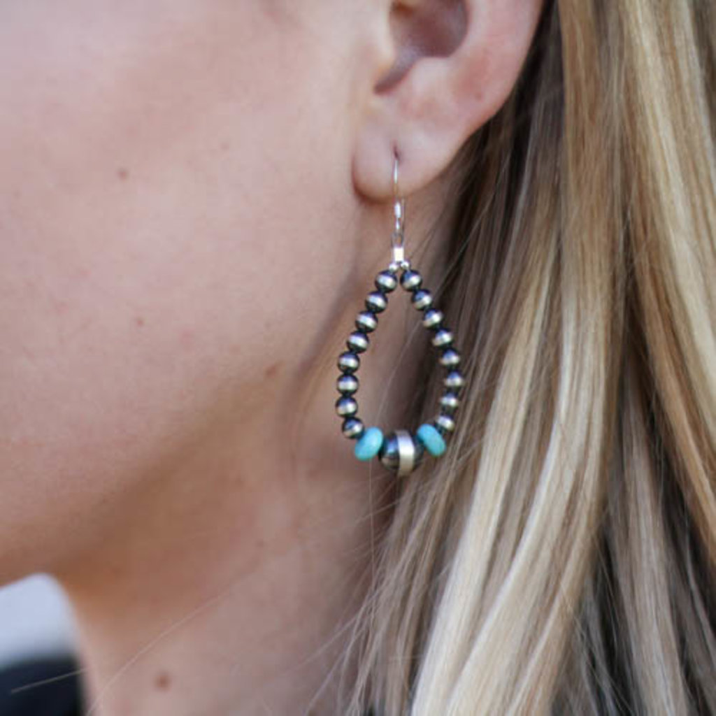 Punchy's 2in Turquoise Navajo Pearl Teardrop Earring