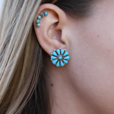 Punchy's Turquoise Needlepoint Flower Earring