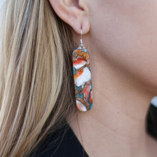 Punchy's Spiny Oyster Matrix Slab Earring